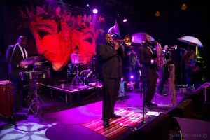 PARK CITY, UT - JANUARY 26: The Michael Foster Project band at the LIFF pre-Mardi Gras Masquerade pararda at Park City Live in Park City. (Photo credit: Miles Mortensen)