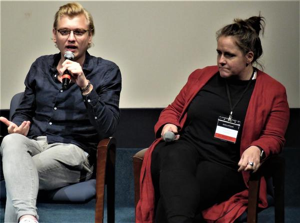 (l to r) Film subject Christiaan Triebert and moderator Claire Wardle, who leads the strategic direction and research for First Draft and is co-founder of Eyewitness Media Hub