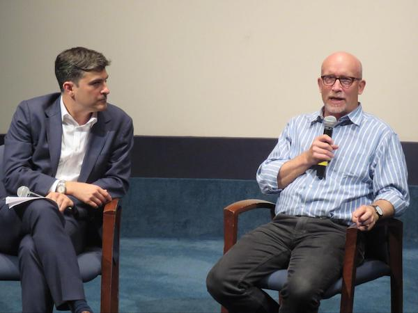 (l to r) Mark Mazzetti, Washington investigative correspondent at The New York Times and filmmaker Alex Gibney
