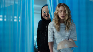 """Babyface"" and Tree (Jessica Rothe) in ""Happy Death Day 2U,"" written and directed by Christopher Landon."