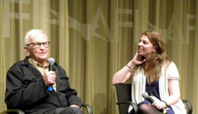 Albert Maysles (Guggenheim Symposium honoree) & SIVERDOCS and Artistic Dir. Skye Sitney after the screening of Maysles